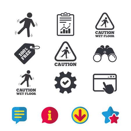 Let op natte vloer pictogrammen. Menselijk dalend driehoekssymbool. Glad oppervlak teken. Browservenster, rapport en serviceborden. Verrekijker, informatie en download pictogrammen. Sterren en chatten. Vector Stock Illustratie