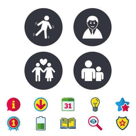 Businessman person icon. Group of people symbol. Man love Woman or Lovers sign. Caution slippery. Calendar, Information and Download signs. Stars, Award and Book icons. Light bulb, Shield and Search