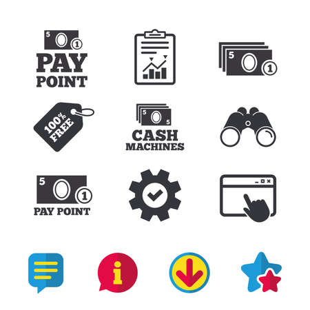Iconos de efectivo y monedas. Cajeros automáticos o señales ATM. Símbolos de pago o de retiro. Ventana del navegador, Señales de informe y servicio. Binoculares, Información y Descargar iconos. Estrellas y Chat. Vector Foto de archivo - 80474003