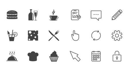 Essen, trinken Icons. Kaffee und Hamburger Zeichen. Cocktail-, Käse- und Kuchensymbole. Chat-, Report- und Kalenderzeilen. Service-, Bleistift- und Schließfachikonen. Klicken, Drehung und Cursor. Vektor Standard-Bild - 80474010