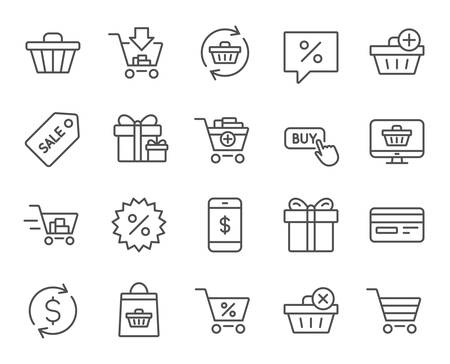 smartphone apps: Shopping line icons. Gifts, Presents and Sale offer signs. Shopping cart, Tags and Delivery symbols. Speech bubble, Discount and Credit card. Online buying. Quality design elements. Editable stroke