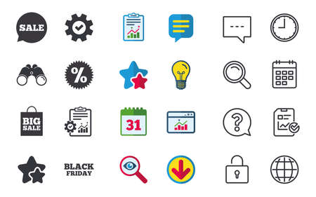 Sale speech bubble icon. Discount star symbol. Black friday sign. Big sale shopping bag. Chat, Report and Calendar signs. Stars, Statistics and Download icons. Question, Clock and Globe. Vector