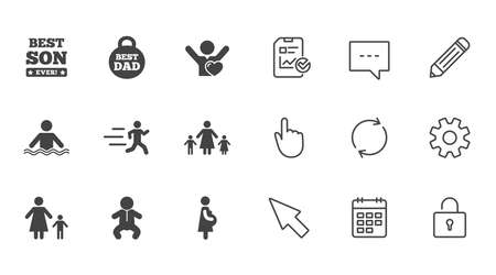 People, family icons. Swimming, baby and pregnant woman signs. Best dad, runner and fan symbols. Chat, Report and Calendar line signs. Service, Pencil and Locker icons. Click, Rotation and Cursor