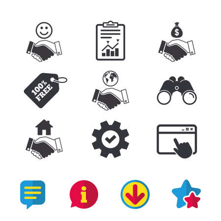 usd: Handshake icons. World, Smile happy face and house building symbol. Dollar cash money bag. Amicable agreement. Browser window, Report and Service signs. Binoculars, Information and Download icons