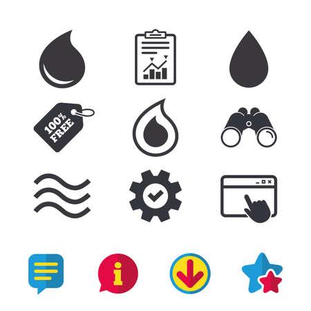 水ドロップのアイコン。涙やオイル ドロップ記号。ブラウザー ウィンドウ、レポートとサービスの兆候。双眼鏡は、情報とダウンロード アイコン  イラスト・ベクター素材