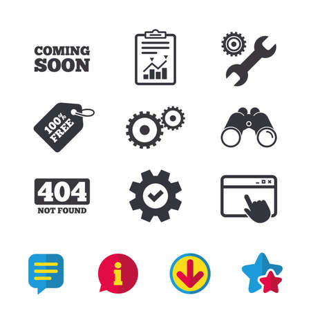 gearwheel: Coming soon icon. Repair service tool and gear symbols. Wrench sign. 404 Not found. Browser window, Report and Service signs. Binoculars, Information and Download icons. Stars and Chat. Vector Illustration