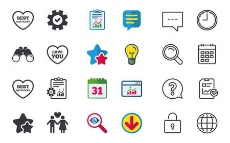 Valentine day love icons. Best girlfriend and boyfriend symbol. Couple lovers sign. Chat, Report and Calendar signs. Stars, Statistics and Download icons. Question, Clock and Globe. Vector Illusztráció