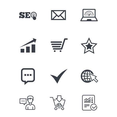 インターネット、seo アイコン。ダニ、オンライン ショッピングとチャートのサイン。帯域幅、モバイル デバイスおよびチャット記号。顧客サービス、ショッピングカート、レポート行の標識。オンライン ショッピングと統計。ベクトル 写真素材 - 80474027