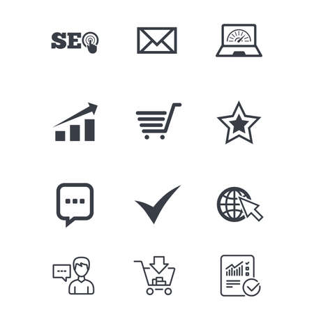 Internet, seo icons. Tick, online shopping and chart signs. Bandwidth, mobile device and chat symbols. Customer service, Shopping cart and Report line signs. Online shopping and Statistics. Vector Ilustração