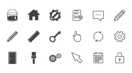 Repair, construction icons. Service, key and door signs. Painting, brush and pencil symbols. Chat, Report and Calendar line signs. Service, Pencil and Locker icons. Click, Rotation and Cursor. Vector Illustration