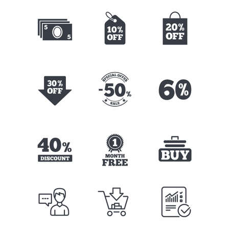 reductions: Sale discounts icon. Shopping cart, buying and cash money signs. 40, 50 and 60 percent off. Special offer symbols. Customer service, Shopping cart and Report line signs. Online shopping and Statistics