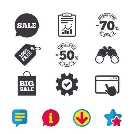 Sale speech bubble icon. 50% and 70% percent discount symbols. Big sale shopping bag sign. Browser window, Report and Service signs. Binoculars, Information and Download icons. Stars and Chat. Vector