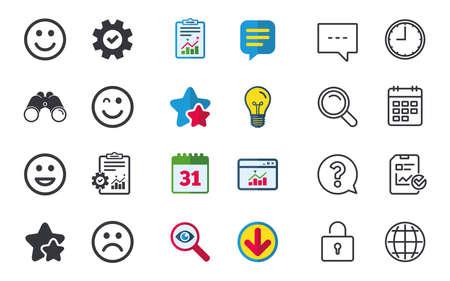 Lächeln Symbole. Glücklich, traurig und wink Gesichter Symbol. Lachen lol smiley Zeichen. Chat, Bericht und Kalender Zeichen. Sterne, Statistiken und Download Icons. Frage, Uhr und Globus. Vektor Standard-Bild - 80474064