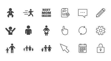 People, family icons. Maternity, person and baby signs. Best mom, father and mother symbols. Chat, Report and Calendar line signs. Service, Pencil and Locker icons. Click, Rotation and Cursor. Vector Illustration