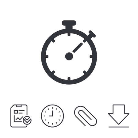 interval: Timer sign icon. Stopwatch symbol. Report, Time and Download line signs. Paper Clip linear icon. Vector