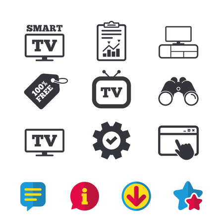 Smart TV mode icon. Widescreen symbol. Retro television and TV table signs. Browser window, Report and Service signs. Binoculars, Information and Download icons. Stars and Chat. Vector