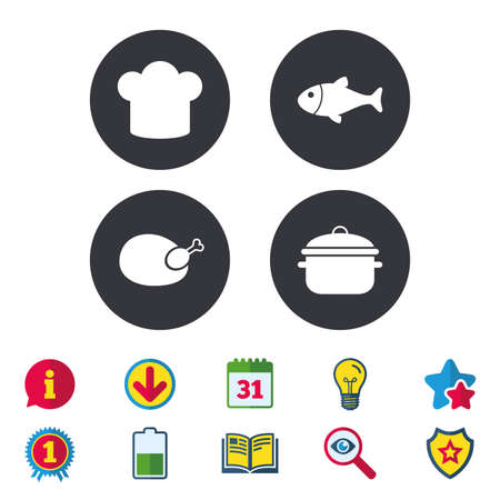 Chief hat and cooking pan icons. Fish and chicken signs. Boil or stew food symbol. Calendar, Information and Download signs. Stars, Award and Book icons. Light bulb, Shield and Search. Vector Illustration