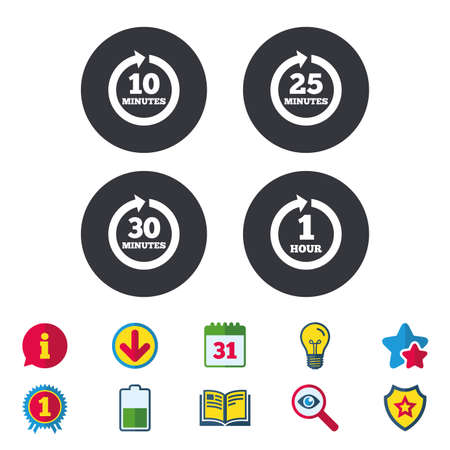 Every 10, 25, 30 minutes and 1 hour icons. Full rotation arrow symbols. Iterative process signs. Calendar, Information and Download signs. Stars, Award and Book icons. Light bulb, Shield and Search Ilustração