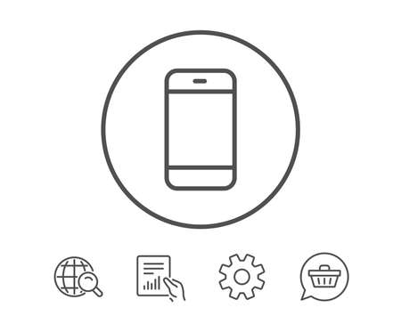 smartphone business: Smartphone icon. Cellphone or Phone sign. ?ommunication Mobile device symbol. Hold Report, Service and Global search line signs. Shopping cart icon. Editable stroke. Vector