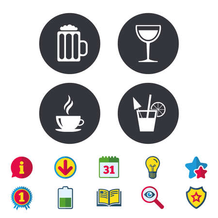 star award: Drinks icons. Coffee cup and glass of beer symbols. Wine glass and cocktail signs. Calendar, Information and Download signs. Stars, Award and Book icons. Light bulb, Shield and Search. Vector