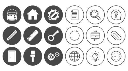 painting: Repair, construction icons. Service, key and door signs. Painting, brush and pencil symbols. Document, Globe and Clock line signs. Lamp, Magnifier and Paper clip icons. Vector