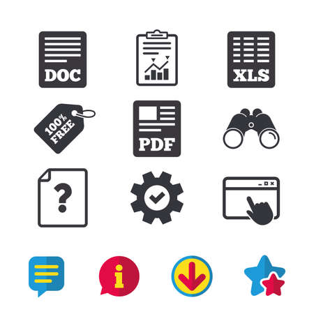 File document and question icons. XLS, PDF and DOC file symbols. Download or save doc signs. Browser window, Report and Service signs. Binoculars, Information and Download icons. Stars and Chat