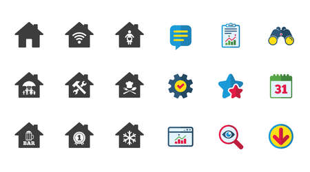 Real estate icons. Home insurance, maternity hospital and wifi internet signs. Restaurant, service and air conditioning symbols. Calendar, Report and Download signs. Stars, Service and Search icons Ilustração