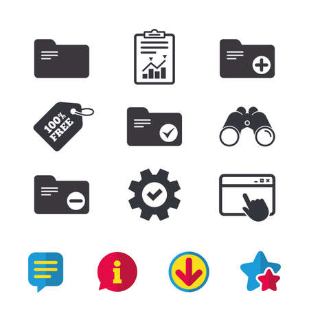 Accounting binders icons. Add or remove document folder symbol. Bookkeeping management with checkbox. Browser window, Report and Service signs. Binoculars, Information and Download icons. Vector Stock Vector - 80996553