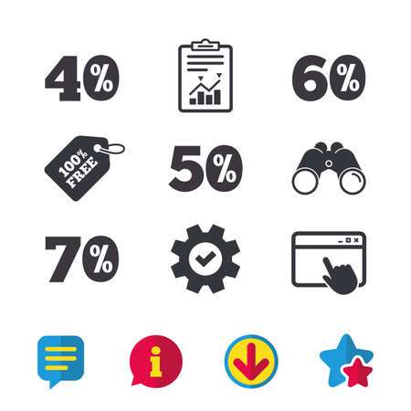 Sale discount icons. Special offer price signs. 40, 50, 60 and 70 percent off reduction symbols. Browser window, Report and Service signs. Binoculars, Information and Download icons. Stars and Chat