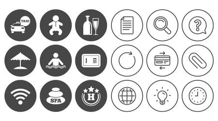 Hotel, apartment service icons. Spa, swimming pool signs. Alcohol drinks, wifi internet and safe symbols. Document, Globe and Clock line signs. Lamp, Magnifier and Paper clip icons. Vector Stock Vector - 80996565