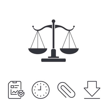 legal document: Scales of Justice sign icon. Court of law symbol. Report, Time and Download line signs. Paper Clip linear icon. Vector Illustration