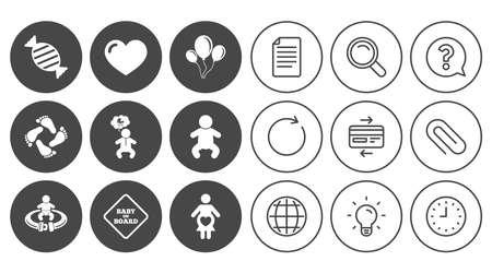 Iconos de embarazo, maternidad y cuidado de bebé. Dulces, cochecitos y abrocharse los letreros del cinturón de seguridad. Huella, amor y símbolos de globo. Signos de línea de documento, globo y reloj. Iconos de clip de lámpara, lupa y papel Foto de archivo - 80997040