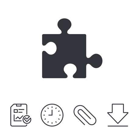 Puzzle piece sign icon. Strategy symbol. Report, Time and Download line signs. Paper Clip linear icon. Vector Stock Vector - 80996992