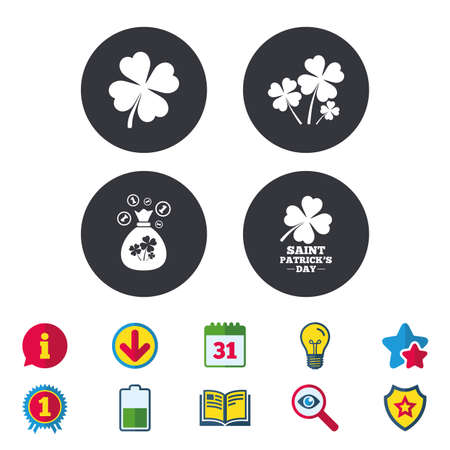 Saint Patrick day icons. Money bag with clovers and coins sign. Symbol of good luck. Calendar, Information and Download signs. Stars, Award and Book icons. Light bulb, Shield and Search. Vector Illustration