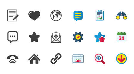 Mail, contact icons. Favorite, like and internet signs. E-mail, chat message and phone call symbols. Calendar, Report and Download signs. Stars, Service and Search icons. Vector