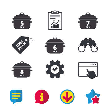 Cooking pan icons. Boil 5, 6, 7 and 8 minutes signs. Stew food symbol. Browser window, Report and Service signs. Binoculars, Information and Download icons. Stars and Chat. Vector