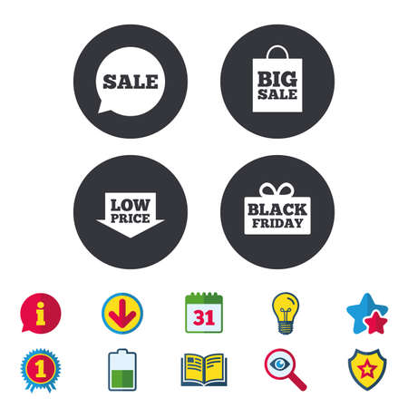 Sale speech bubble icon. Black friday gift box symbol. Big sale shopping bag. Low price arrow sign. Calendar, Information and Download signs. Stars, Award and Book icons. Light bulb, Shield and Search Illustration