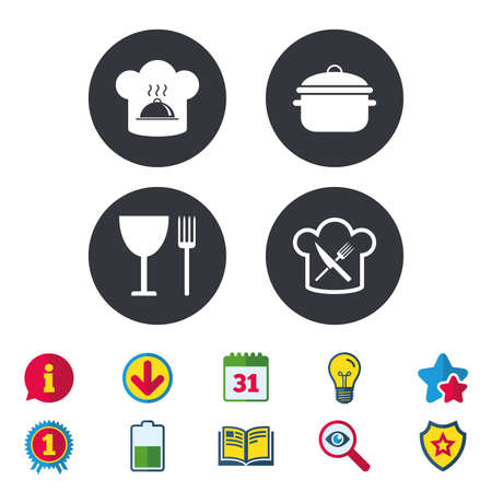 Chief hat and cooking pan icons. Crosswise fork and knife signs. Boil or stew food symbols. Calendar, Information and Download signs. Stars, Award and Book icons. Light bulb, Shield and Search. Vector