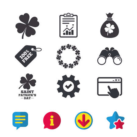 Saint Patrick day icons. Money bag with clover sign. Wreath of quatrefoil clovers. Symbol of good luck. Browser window, Report and Service signs. Binoculars, Information and Download icons. Vector