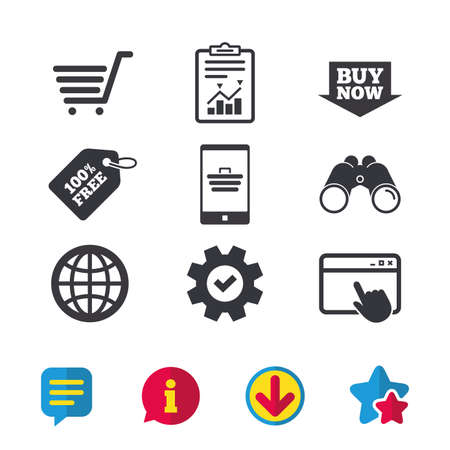 Online shopping icons. Smartphone, shopping cart, buy now arrow and internet signs. WWW globe symbol. Browser window, Report and Service signs. Binoculars, Information and Download icons. Vector