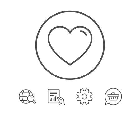 Heart line icon. Love sign. Valentines Day sign symbol. Hold Report, Service and Global search line signs. Shopping cart icon. Editable stroke. Vector Illustration