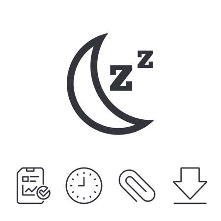 Sleep sign icon. Moon with zzz button. Standby. Report, Time and Download line signs. Paper Clip linear icon. Vector