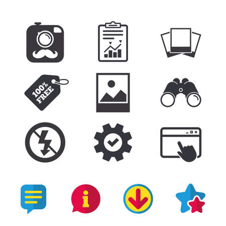 Hipster retro photo camera with mustache icon. No flash light symbol. Landscape photo frame. Browser window, Report and Service signs. Binoculars, Information and Download icons. Stars and Chat Illustration
