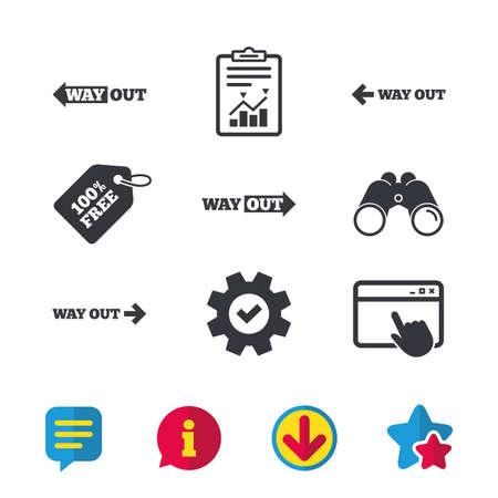 웨이 밖으로 아이콘. 왼쪽 및 오른쪽 화살표 기호. 지하철에서 방향 표지판. 브라우저 창, 보고서 및 서비스 표지판. 쌍안경, 정보 및 다운로드 아이콘.