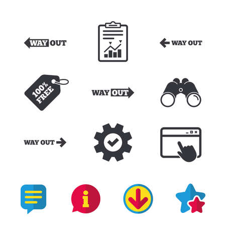 Way out icons. Left and right arrows symbols. Direction signs in the subway. Browser window, Report and Service signs. Binoculars, Information and Download icons. Stars and Chat. Vector Ilustração