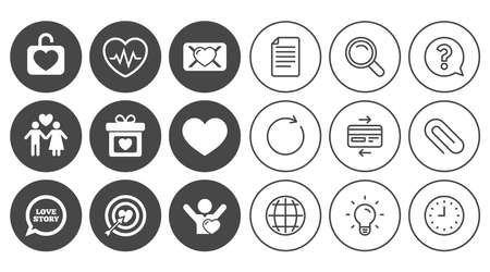 Love, valentine day icons. Target with heart, oath letter and locker symbols. Couple lovers, heartbeat signs. Document, Globe and Clock line signs. Lamp, Magnifier and Paper clip icons. Vector