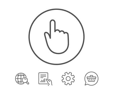손을 클릭합니다. 손가락 터치 기호입니다. 커서 포인터 기호. 보고서, 서비스 및 글로벌 검색 라인 신호 보류. 쇼핑 카트 아이콘입니다. 편집 가능한  일러스트