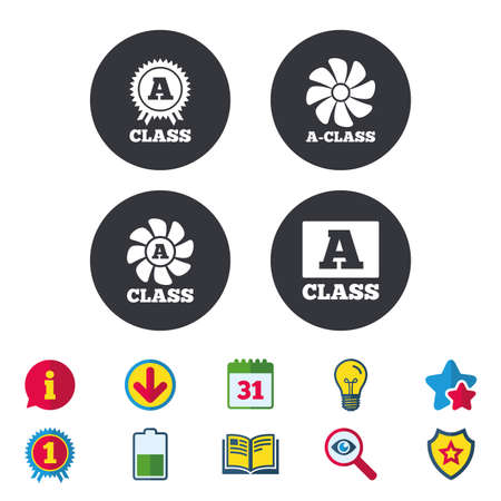A-class award icon, Premium level symbols Calendar, Information and Download signs, Stars, Award and Book icons.