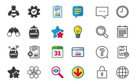 허니 아이콘 허니 콤 셀 꿀벌 기호 달콤한 자연 식품 표지판; 채팅, 보고서 및 캘린더 표지판; 별, 통계 및 다운로드 아이콘. 질문, 시계 및 글로브입니 일러스트