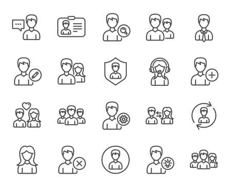 Users line icons. Male and Female Profiles, Group and Support signs.
